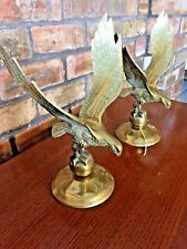 Pair Brass Flying Eagles on Globe Ball - Vintage - Federal Style - Wing - Mantel