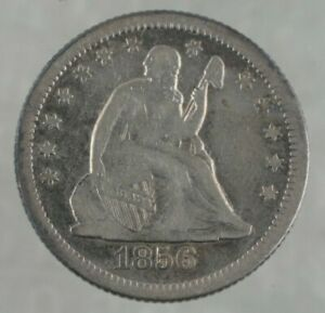 1856-O Seated Liberty Quarter FINE Lightly Cleaned