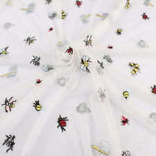 Embroidery Insects Lace Fabric Dot Mesh Fabric  Bee Butterfly Fabric BY YARD