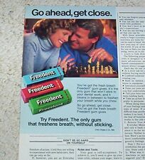1986 advertising - Wrigley's Freedent Gum - lady man playing chess game PRINT AD