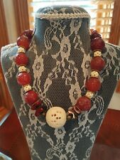 Marvelous handmade artisan necklace with natural red agate