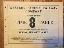 Western Pacific Railway Eastern Division Emp Time Table #8, 1-21-1912