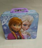 "Disney Frozen Anna N Elsa Metal Tin Lunch Box 8"" x 6.5"" x 3"" Multi Color"