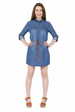 Patternless 3/4 Sleeve Casual Shirt Dresses