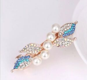 HAIR CLIP ACCESSORIES ROSE GOLD PLATED JEWELLERY RHINESTONES WOMEN