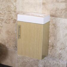 Compact 400mm Wall Hung Bathroom Cloakroom Vanity Storage Sink Unit with Basin