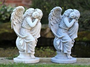 Garden Ornament Cherub Fairy Angel Garden Statue Decor Decoration  31cm