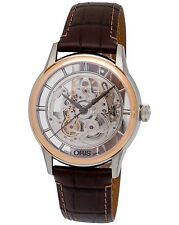 Oris Artelier Translucent Skeleton Steel/18K Rose Gold Men's Watch-734 7684 6351