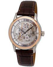 Oris Artelier Translucent Skeleton Steel/18K Rose Gold Men's Watch-734 7684 6351