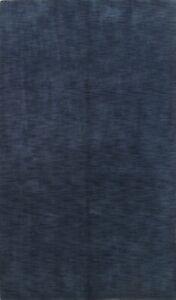 Contemporary Distressed Blue Gabbeh Handmade Area Rug Modern Oriental Carpet 6x8