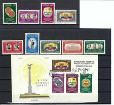 COLOMBIA'S  INDEPENDENCE 150th ANNIV. 1960   9 STAMPS  AND COVER F.D.C. S/SHEET