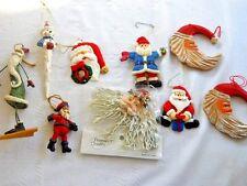 Lot of 9 Santa and Snowman Ornaments - Santa Heads, Santa on Skiis, Marionette