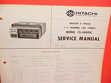 1972 HITACHI 8-TRACK STEREO TAPE PLAYER FACTORY SERVICE MANUAL MODEL CS-4000IC