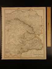 1844 BEAUTIFUL Huge Color MAP of Austria Eastern Hungary and Transylvania ATLAS