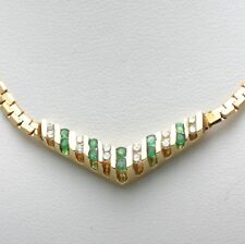 "Vintage 14k Emerald and Diamond ""V"" Necklace channel set yellow gold green May"