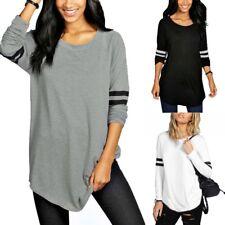 ZANZEA 8-24 Women Plus Size Long Sleeve Tunic Top Blouse Gym Yoga Baseball Shirt