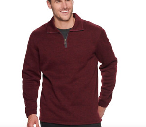 Haggar Mens In Motion 1/4 Zip Pullover Small Burnt Rust Heather Easy Care $55