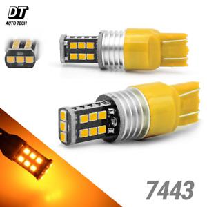 7443 7440 LED Amber Yellow Turn Signal Parking DRL High Power 50W Light Bulbs