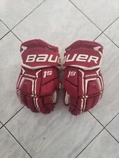 "Bc Eagles Bauer 1s pro stock hockey gloves, 14"", poron inserts"