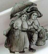 EN GRISAILLE GEORGIAN ENAMELPIN   STROLLING CHILDREN  DOLL AND TOY BASKET PIN