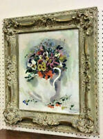 Peter Diem Impressionist Still Life Oil Painting Dutch Floral Pansies Original