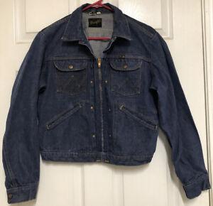 Vintage Wrangler Zip Front Denim Blue Jean Jacket Mens 40 Made in USA