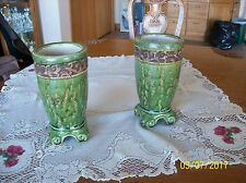 Pottery Planters Tall Heavy Matching 2 Roman Pattern With A Green Glaze Overlay