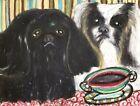 PEKINGESE Drinking Coffee 13x19 Dog Pop Art Print Signed by Artist KSams