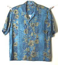 BILLABONG Mens Shirt SZ L Short Sleeve Button Front Blue Green Black Floral
