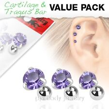 3pcs Value Pack of Assorted Steel Tragus Bar Prong Set Tanzanite Round Gem Top