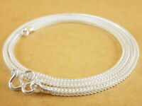 Genuine 925 Sterling Silver White Foxtail Wheat Pendant Necklace Chain 20''2.2mm