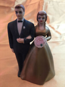 Vintage Japan Wilton 1950's Chicago Bride & Groom Wedding Cake Topper