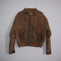 VTG 80s Adventure Bound by Wilsons Brown Leather Trucker Jacket Size Medium