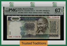 Tt Pk 87c Nd (1987) India 500 Rupees Gandhi Pmg 67 Epq Superb Gem Tied As Best!