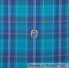 BonEful Fabric FQ Cotton Quilt Blue Aqua White Plaid Block Square Stripe L Light