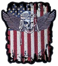 Large Patriotic American Flag Fighter Pilot Skull With Wings Biker Patch