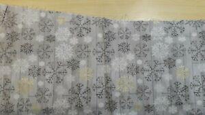 Joann Fabrics 100% Cotton Snowflakes on Grey  Design W 112 cm  x L 23 cm