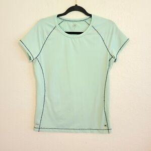 Alo Yoga Women's Cool Fit Short Sleeve Shirt Sz XL Mint Green Stretch Crew Neck