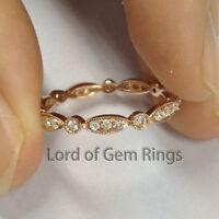 Retro Art Deco Antique Diamonds Eternity Wedding Anniversary Ring,14K Rose Gold