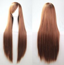 Brown 80cm Women Long Straight Hair Wig Fashion Costume Party Anime Cosplay