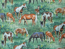 Patchwork Quilting Sewing Fabric VALLEY CREST HORSES Allover Material 50x55cm...