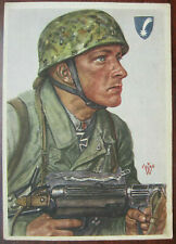 German Fallschirmjager Postcard MP40 Helmet Willrich Artwork 2GM Tedesco LW top