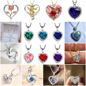 Fashion Heart 925 Silver Necklace Pendant for Women White Sapphire Jewelry Gifts