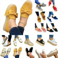 Womens Platform Sneakers Canvas High Wedge Slip On Pump Casual Comfort Shoe Size