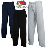 Fruit Of The Loom JOG PANTS TRACKSUIT BOTTOMS OPEN HEM LEG JOGGERS COMFY S-2XL
