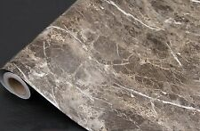 Dark Brown Granite Look Marble Gloss Film Vinyl Self Adhesive Counter Top Pee...