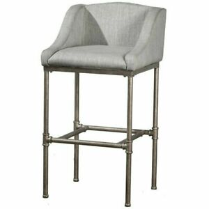 """Hillsdale Dillon 26"""" Upholstered Counter Stool in Textured Silver"""