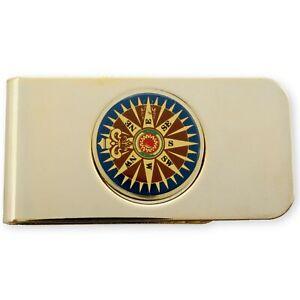 Money Clip Bill Holder Wallet With Decorative Compass  - Golden Colour