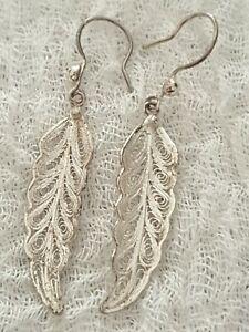 Sterling Silver 925 Filigree Leaf Drop Dangle Earrings