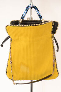 Les Petits Joueurs yellow stud trim drawstring shoulder handbag purse NEW $610